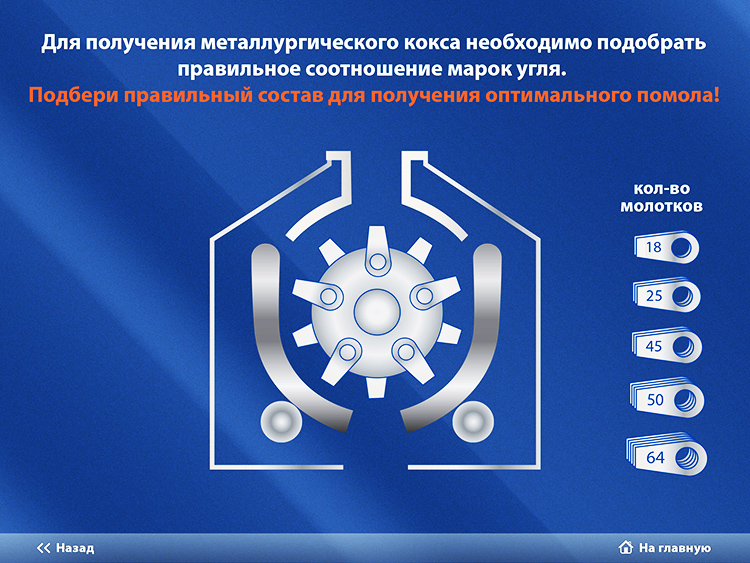 Game mechanics of mobile application for Severstal museum